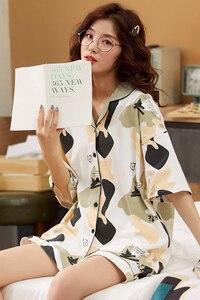 Image 4 - קריקטורה דוב נשים יאקאטה יפני קימונו פיג מה סטי 100% כותנה חלוק רחצה חליפות קצר צפצף כתונת לילה הלבשת פנאי Homewear