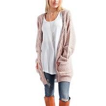 Ropa de mujer invierno 2019 nuevo suéter largo Vintage Casual largo tejido doble bolsillo Rebeca dulce talla grande cómodo