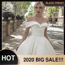 Princesa brilhante a linha vestido de casamento querida fora do ombro corte trem swanskirt dy10 vestido de noiva personalizado novia