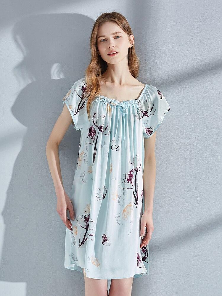 100% Real Silk Nightgown for Women Bedroom Sleepwear Bedgown Nightdress Ladies 16Momme Natural Silk Nightdress Robes Dormir Wear