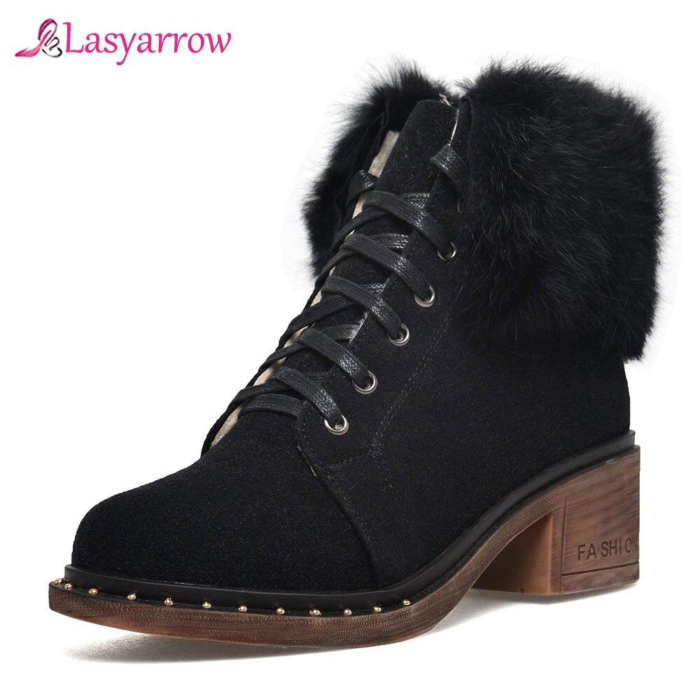 Lasyarrow bout rond femme bottes vert cheville femmes bottes hiver épais cheveux talons chaussures à lacets plate-forme cheville femmes chaud J972