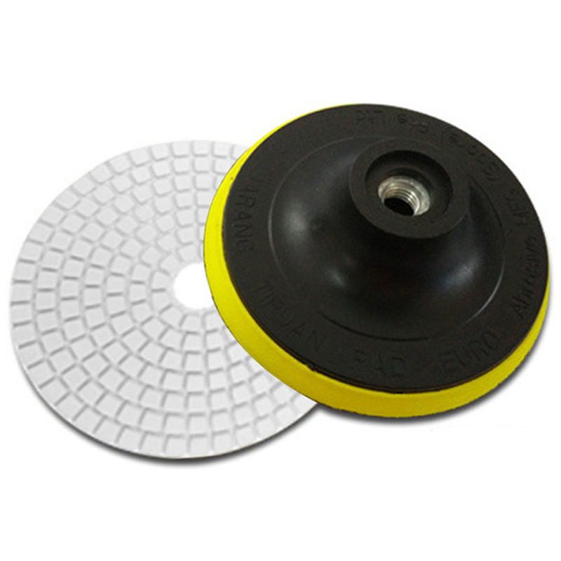 7 Pieces 4 Inch Diamond Wet Grinding Disc Flexible Polishing Pad +1 Piece M10 Back-Up Pad Nozzle For Marble Stone Ceramic Tiles