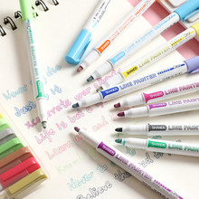 8 / 12 Colors Sketching Markers Cute Highlighters Highlighters Stationery Cute School Supplies Double Line Lovely Marker Pen