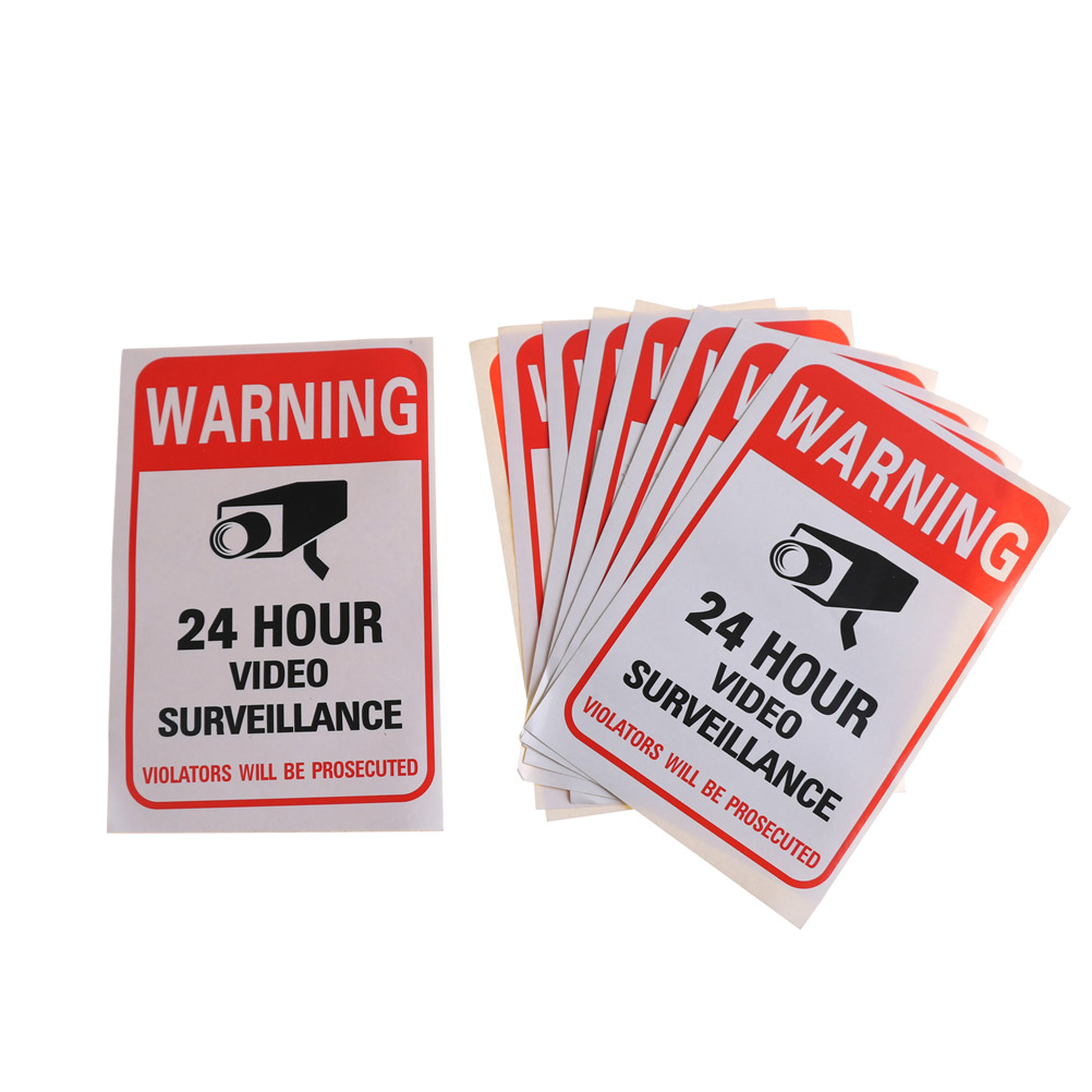5Pcs/lot Wall Sticker 24H Video Camera System Warning Sign Wall Decal Surveillance Monitor Decal Public Area Security