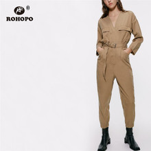 ROHOPO V-Collar Belted Back Pockets Khaki Cotton Cargo Jumpsuit Buttoms Harm Style Ladies Outillage Romper #9358