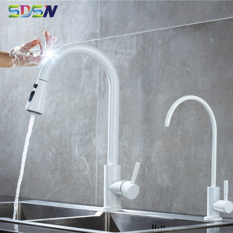 Sensor Kitchen Faucets SDSN White Pull Down Kitchen Mixer Tap Automatic Touch Kitchen Sink Faucet Stainless Steel Sensor Faucets