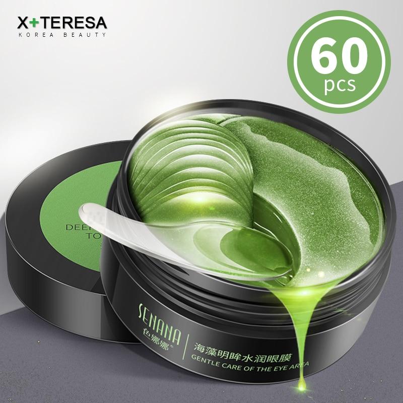 Seaweed Crystal Eye Mask Dark Circles Remover Collagen Gel Eye Patches 60pcs Anti-Puffiness Anti-Aging Moisturizing Skin Care