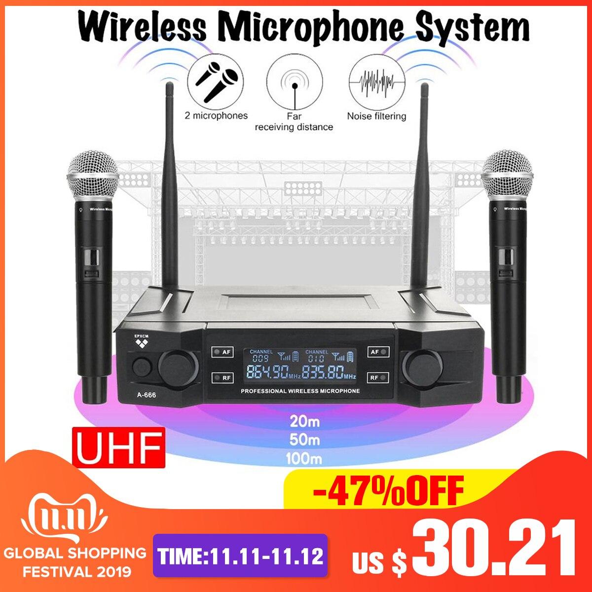 Système de Microphone sans fil professionnel UHF 2 canaux 2 micro portable sans fil Kraoke fournitures de fête vocale Microphone cardioïde