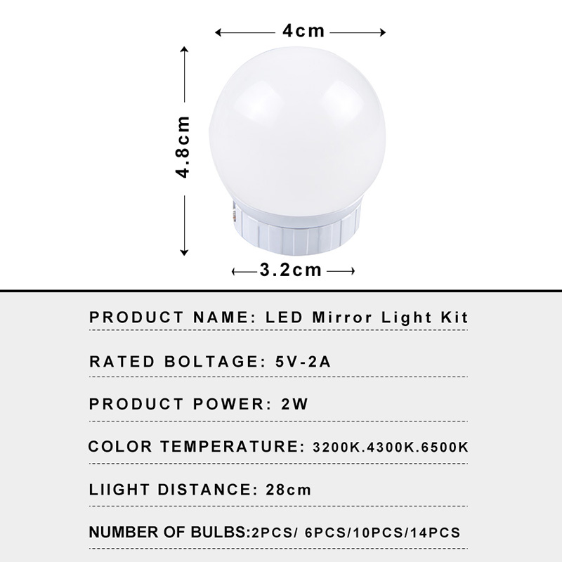 USB LED 5V Makeup Lamp Wall Light Beauty 2 6 10 14 Bulbs Kit For Dressing Table Stepless Dimmable Hollywood Vanity Mirror Light 4