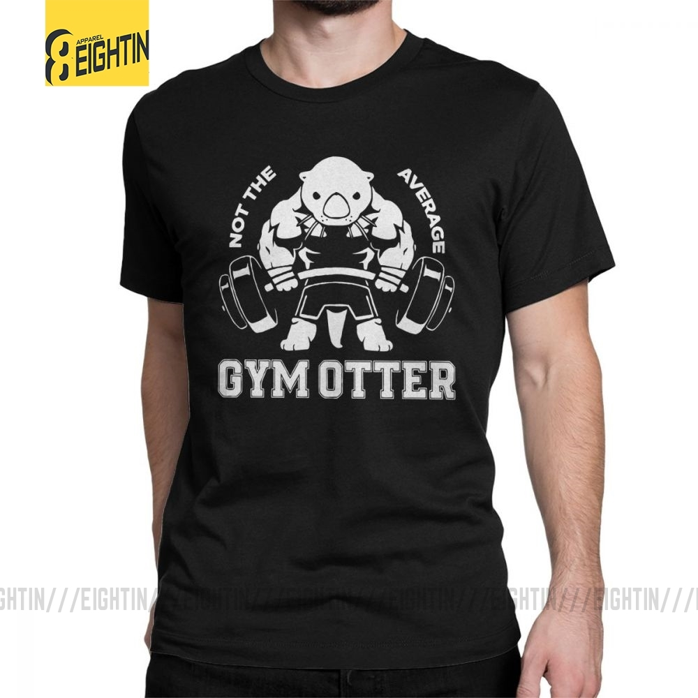 Not The Average Gym Otter Body Building T-Shirt Man Short Sleeve Simple Tee Shirt Round Collar Pure Cotton Tops Printed T Shirt