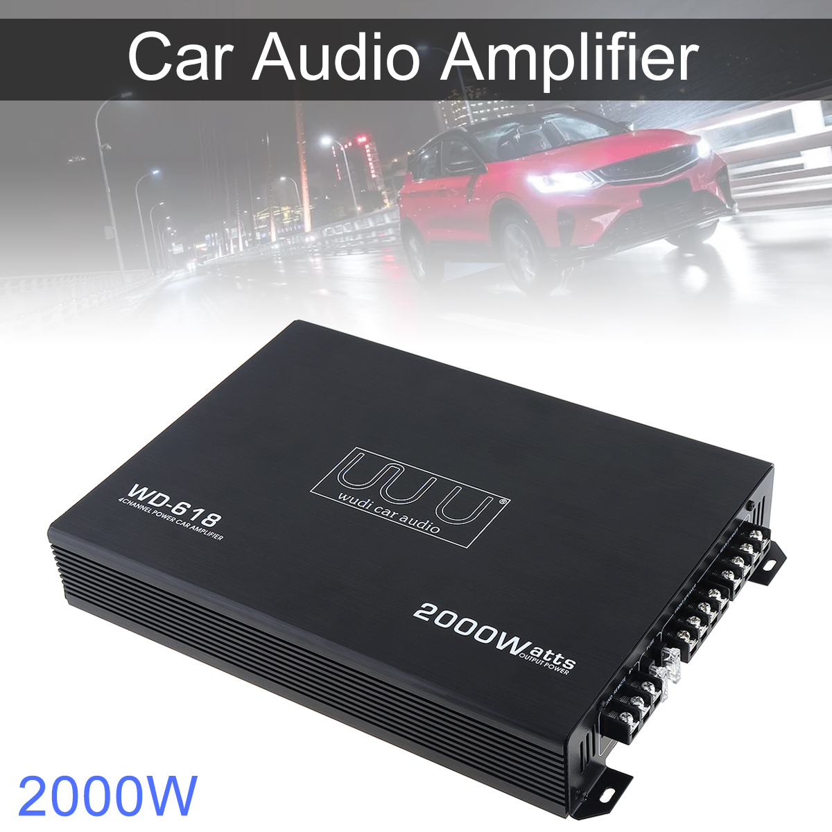 Car Audio Amplifier 2000W Class AB Digital 4 Channel Black Aluminum Alloy High Power Car Stereo Amplifiers for Car Home Audio