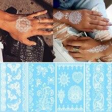 Сексуальная хна для росписи мехенди Татуировка колье из белого кружева цветок временная татуировка наклейка водостойкий боди-арт для свадьбы пляжа