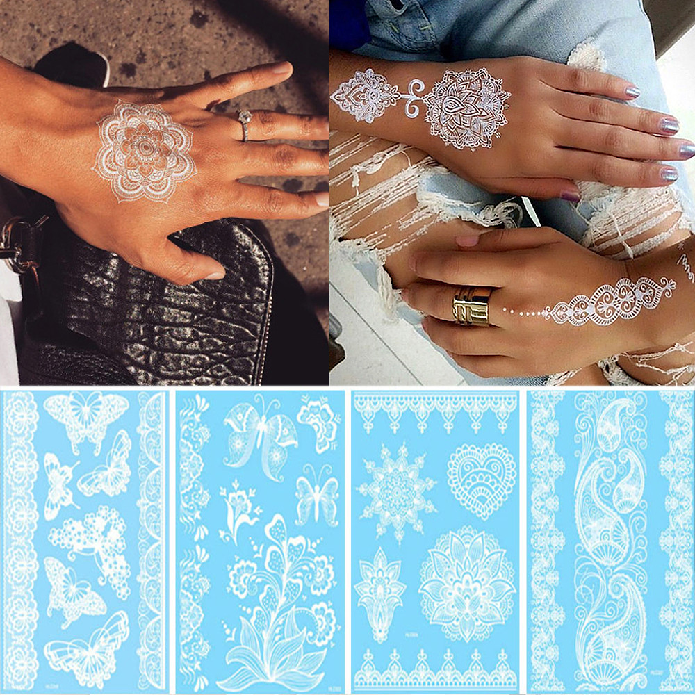 Sexy Henna Mehndi Tattoo White Lace Necklace Flower Temporary Tattoo Sticker Body Art Waterproof For Wedding Beach