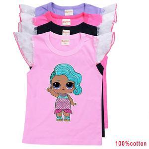 LOL Surprise/Летняя хлопковая футболка белого цвета с расклешенными рукавами Для Девочек Милая футболка с рисунком для маленьких детей футболки,...