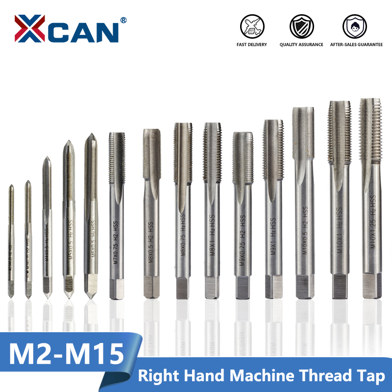 XCAN 1pc Right Hand Thread Tap HSS Machine Plug Tap Metric Screw Tap Drill Thread Tool M2 M2.5 M3 M4 M5 M6 M7 M8 M10 M12 M14 M15