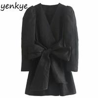 2019 Women Front Elegant Bow Blazer Dress Office Lady Long Sleeve V Neck Vintage Black A line Mini Dress Autumn vestidos