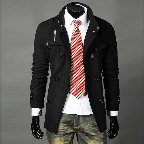 New Style Men's Double Breasted Stand Collar Epaulette Trench Coat Mid-length Woolen Coat Large Size MEN'S Outerwear