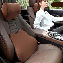 Car Pillows 3D Memory Foam Warm Car Neck Pillow PU Leather Car Seat Cushion Universal Lumbar Back Support Auto Accessories(China)