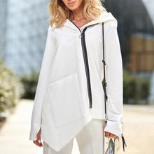 Women Irregular Hooded Sweater White Casual Diagonal Zip Coat Warm Solid Loose Simple Asymmetrical Clothes 2019 Best Selling(China)