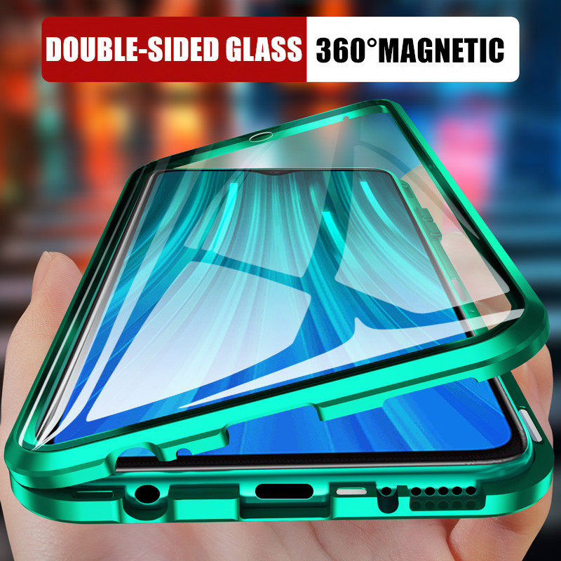 360 Magnetic Adsorption Metal Case For Xiaomi Redmi Note 9 8 7 K20 Pro 8T 8A Mi Note 10 Lite 9T Pro F1 Double-Sided Glass Cover
