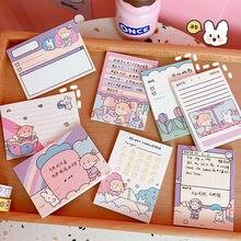 Notas pegajosas quadradas 50 folhas post-it kawaii auto-vara caderno almofadas de memorando papel adesivo para escritório escola artigos de papelaria suprimentos