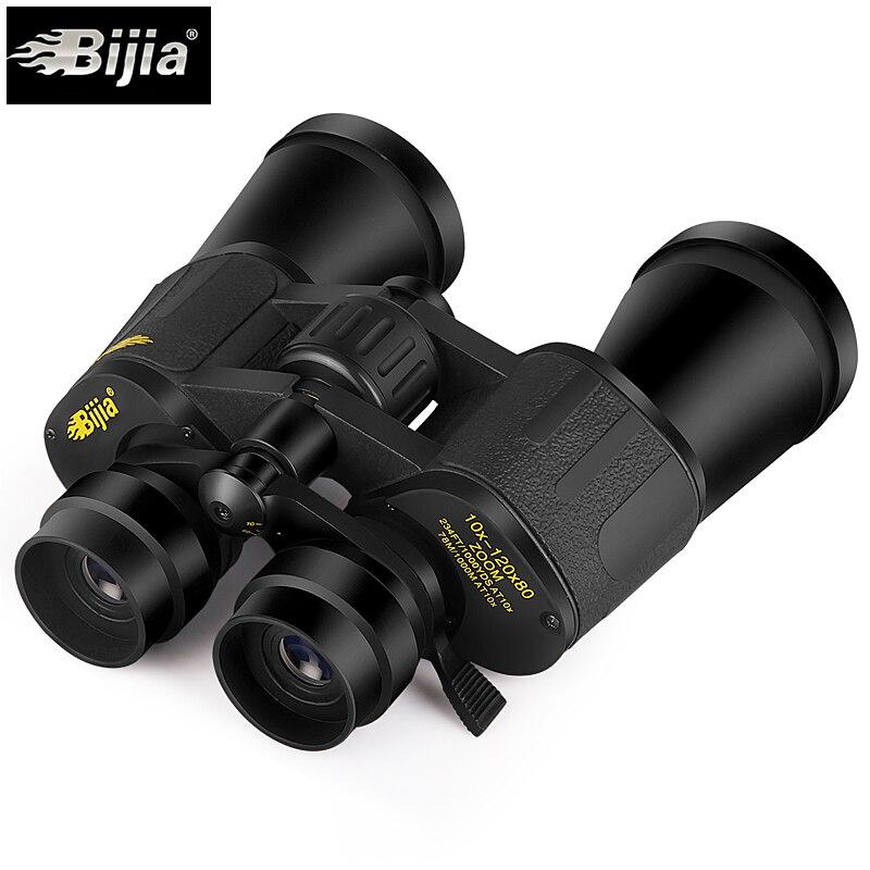 BIJIA 10-120X80 professional zoom optical hunting binoculars wide angle camping telescope Military night vision travel tools