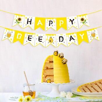 Nowy baner urodzinowy żółty miód pszczoła dekoracje świąteczne Baby Shower słonecznik ściany wiszące chorągiewki Kids Party dobrodziejstw