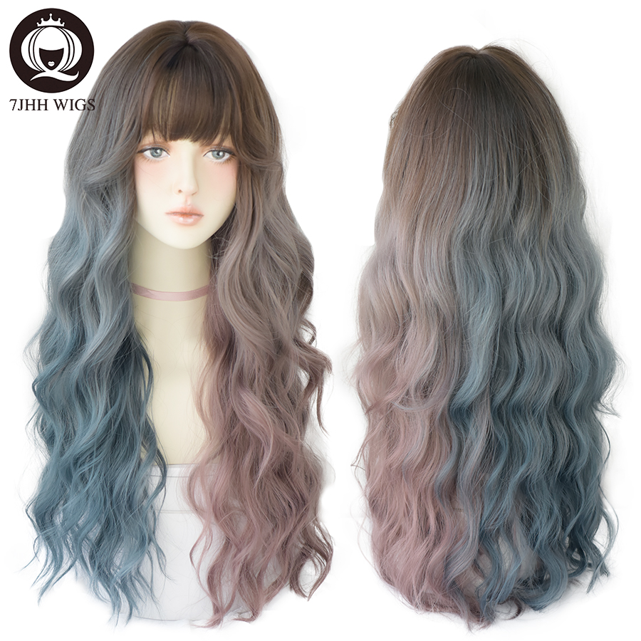 7JHH Deep Wave Long Hair Omber Blue Red Black Wigs For Women Colored Heat Resistant Hair Lolita Wigs With Bangs Wholesale