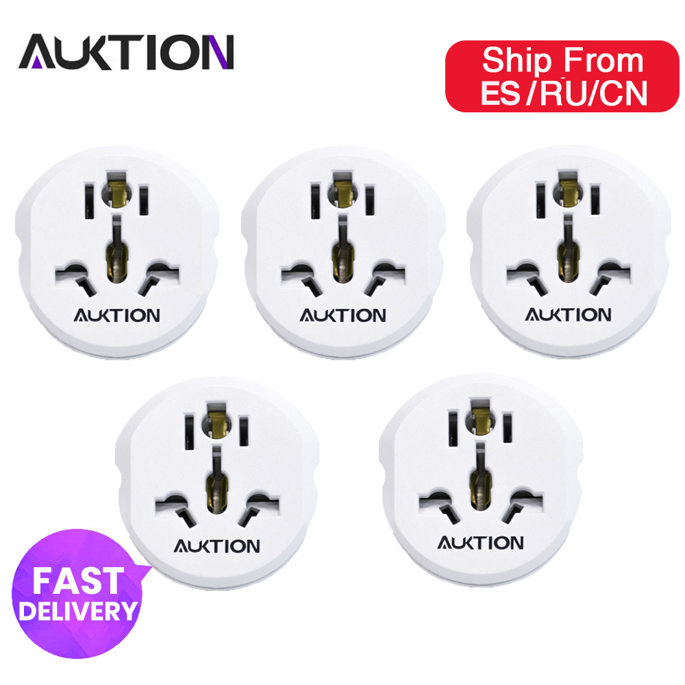 AUKTION 5Pcs/Lot 16A Universal EU Converter Adapter 250V AC Office Travel Charger Wall Power Plug Socket With Home Adapter(China)