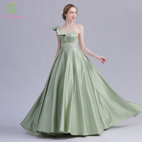 SSYFashion New Evening Dress Banquet Elegant One Shoulder Avocado Green Satin Long Prom Formal Gown Custom Vestido De Noche