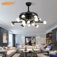 42 inch Ceiling Fans Modern Silent Inverter Remote Control Molecular Lamp Bedroom Restaurant Decorations Creative Nordic Fixture