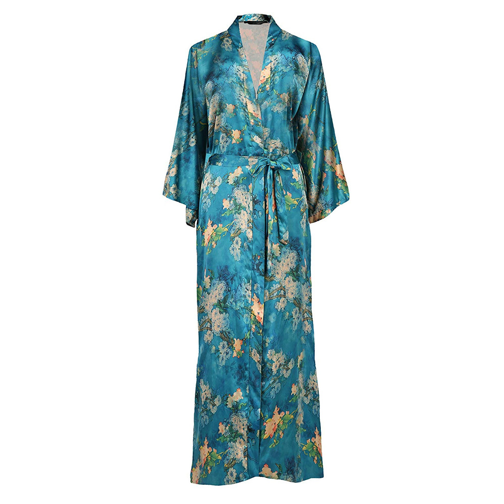 Elegant Ankle-length Women Sleepwear Kimono Robe Gown Exquisite Print Flower Nightwear Casual Soft Bath Gown  Plus Size 5XL 6XL