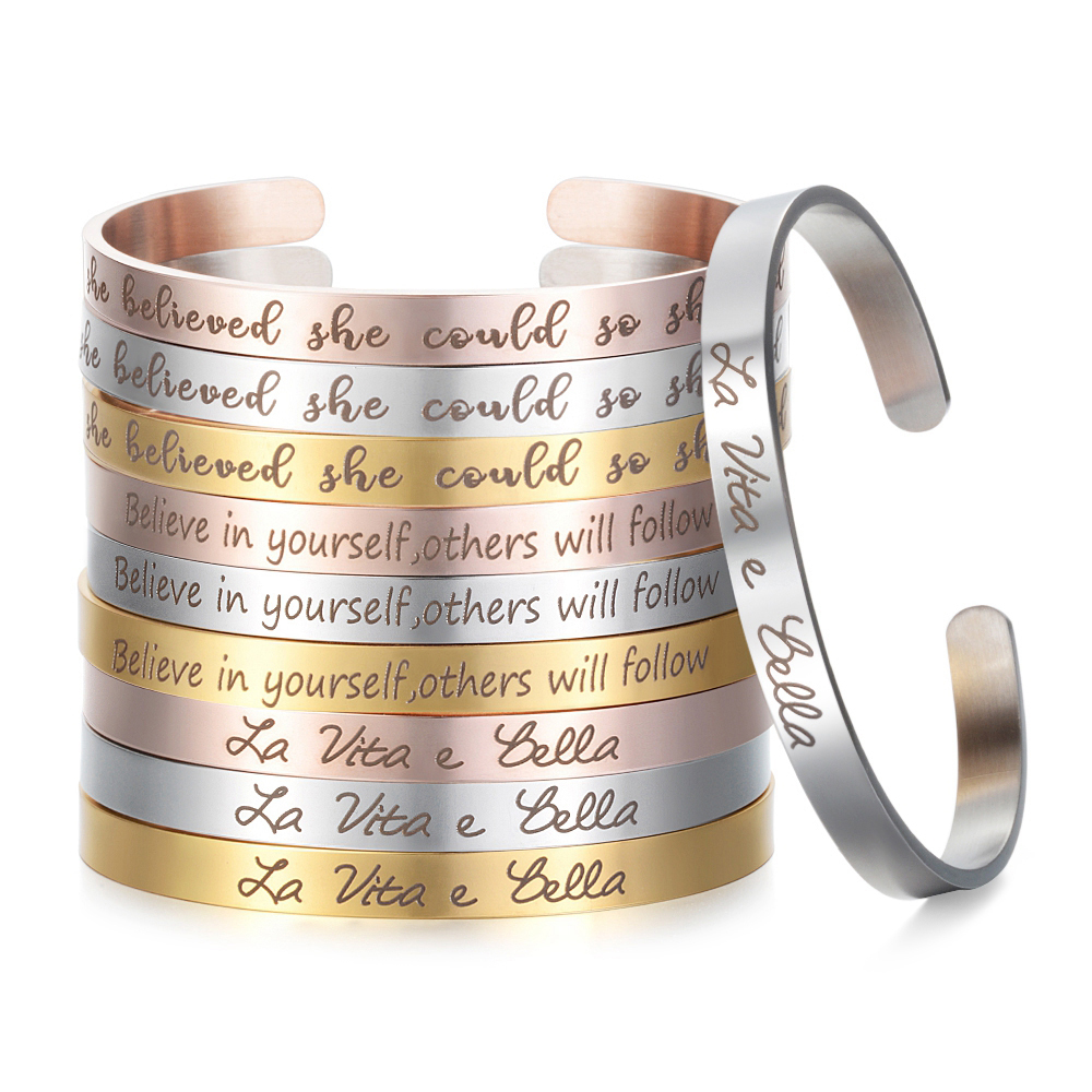 Elegant 3 Colors Stainless Steel Cuff Bangle Custom Inspirational Word Phrase Charms Bracelet  For Women Jewelry SL-006