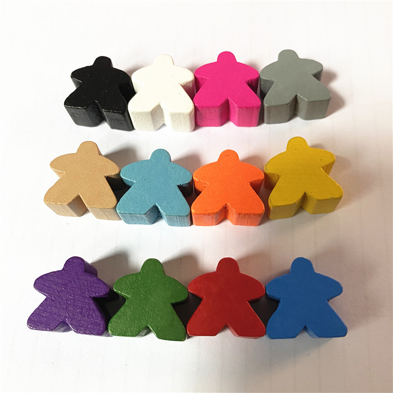 12PCS Wooden Humanoid Pawn Chess Pieces 12 Colors Standard Size 16mm For Meeple Carcassonne Board Game Accessories