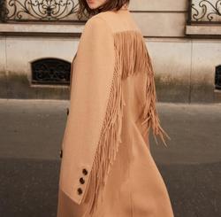 Mulher camelo cor longo 100% lã trench coat voltar longo borlas mangas frente duplo breasted lapela colarinho moda casacos