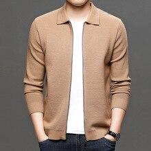 Sweater Coat Knit-Cardigan Zipper Male Men's Brand Casual New Autumn Business Solid Khaki