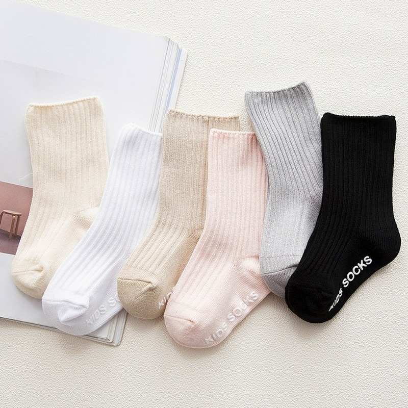 Infant Baby Socks Anti Slip Solid White Black Baby Socks For Girls Cotton Newborn Boy Toddler Socks Kids Clothes Accessories