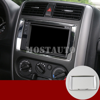 ABS Interior Center Console GPS Navigation Cover Trim For Suzuki Jimny 2012-2017 1pcs silver/Red image