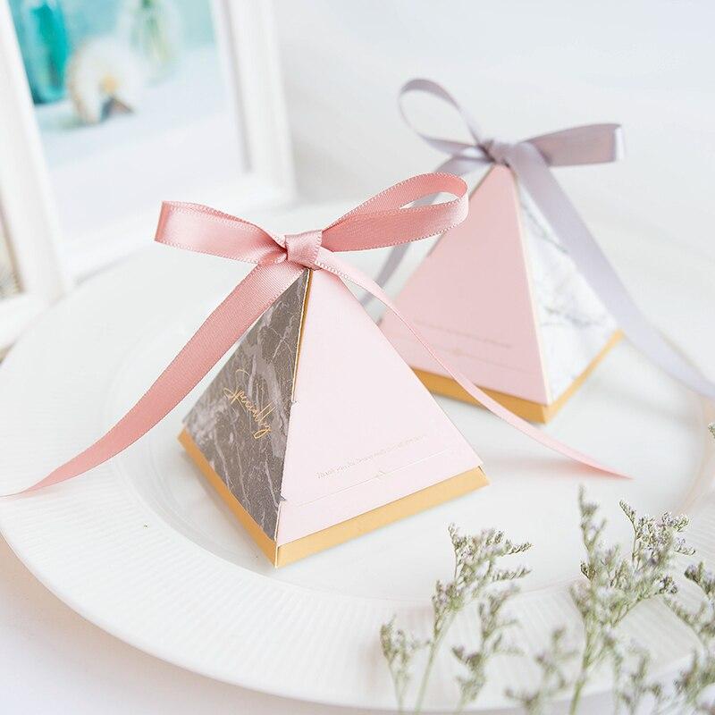 100 шт треугольная коробка для конфет, Подарочная сумка, Подарочная коробка для дня рождения с лентой, свадебная бумажная коробка, праздничны