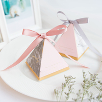 100PCS Triangle Candy Box Gift Bag Birthday Party Gift Box With Ribbon Wedding Paper Box Festival Supplies