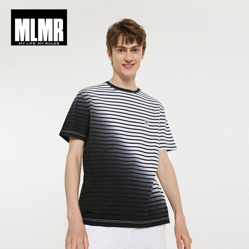JackJones MLMR Men's 100% Cotton Gradient Stripe Embroidered Short-sleeved T-shirt Streetwear  219101597