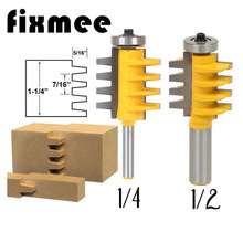 цена на Rail Reversible Finger Joint Glue Router Bit Cone Tenon Woodwork Cutter Power Tools 1/2 1/4  Shank
