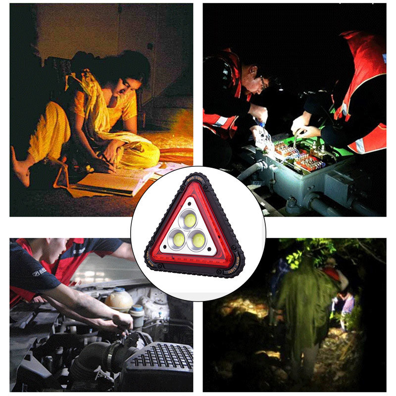 LED Working Lamp Portable Waterproof Triangular Warning Light For Camping Hiking Emergency GV99