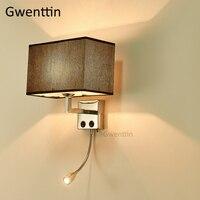 Tela moderna lámparas de pared lámpara de noche para dormitorio aplique de pared Led espejo luces para sala Hotel escaleras hogar Decoración luminaria