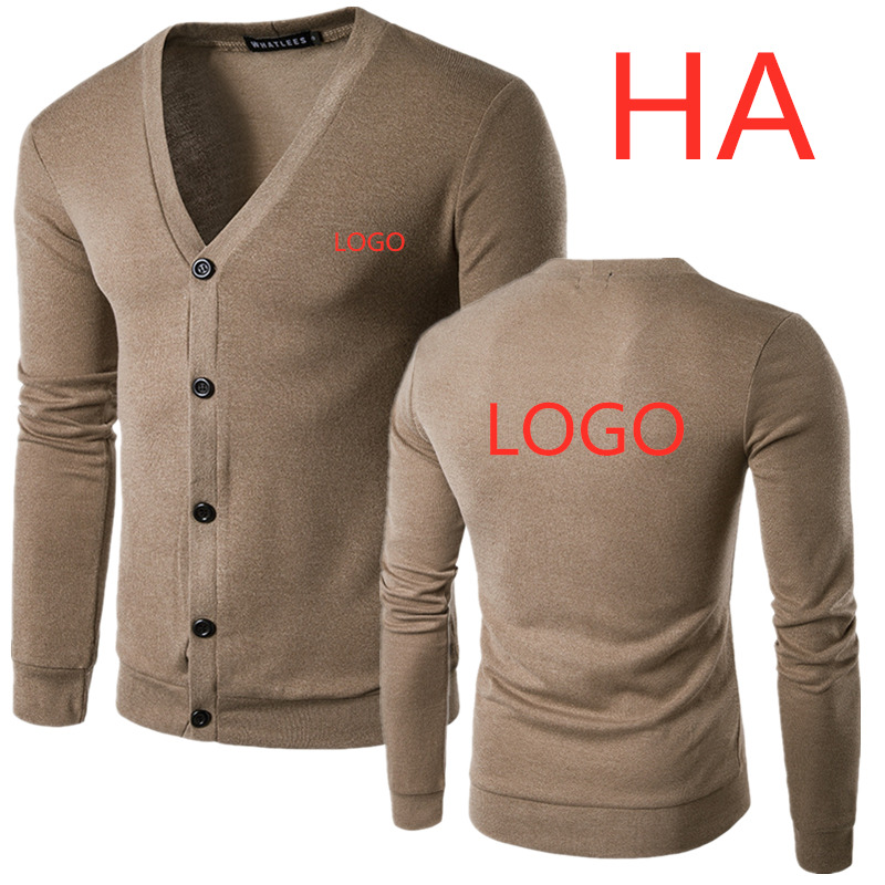 HA Custom Any Logos Men Turn Down Collar Button Up Cardigan Autumn Knitted Sweaters Solid Male Outwear Tops Harajuku Sweatercoat