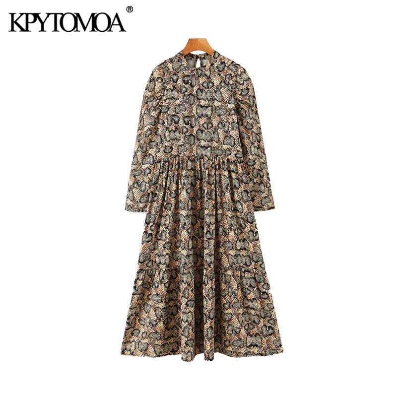 Vintage Stylish Snake Print Pleated Midi Dress Women 2020 Fashion O Neck Long Sleeve Female Dresses Casual Vestidos Mujer