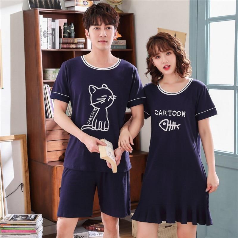 Couples Short Sleeve 100% Cotton Nightgowns For Women Summer Cute Cartoon Home Dress Sleepwear Night Dress Nightdress Men Pyjama