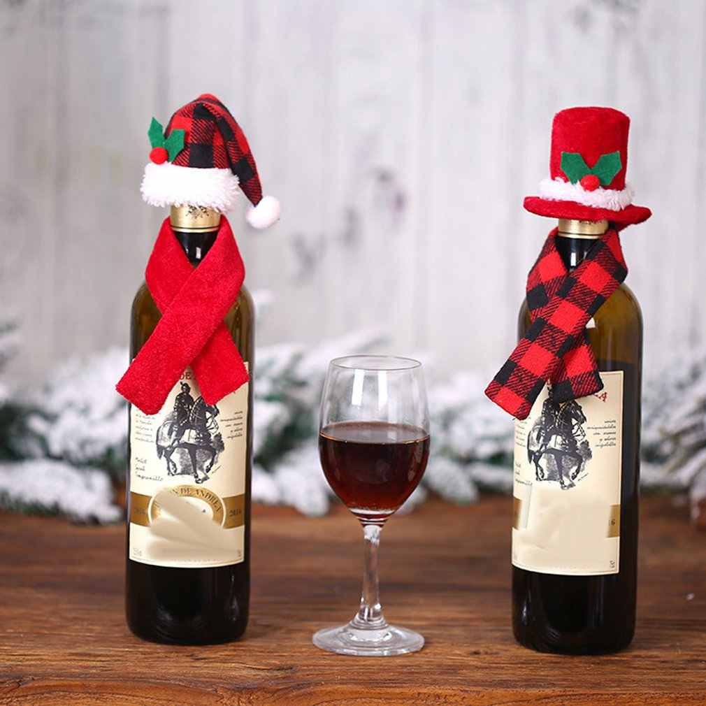 Adorno creativo de Navidad bufanda sombrero traje de dos piezas botella de vino tinto Set Hotel restaurante disposición vestido suministros