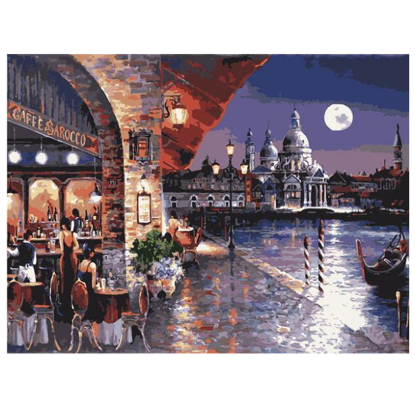 WEEN Lakeside restaurant DIY Painting By Numbers Acrylic Paint Canvas Painting For Wall Decoration Picture Paint By Numbers in Painting Calligraphy from Home Garden