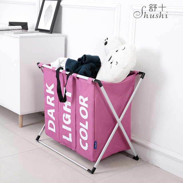 Shushi hotselling water proof three grid laundry organizer bag dirty laundry hamper Collapsible home laundry basket storage bag 1